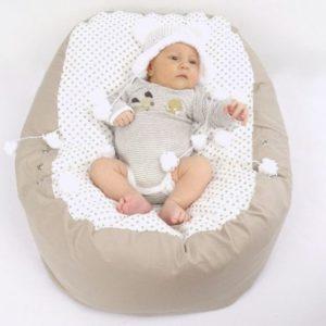 Babyliegekissen & Kindersitzsack beige Punkte