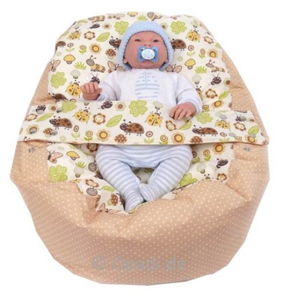 Babykissen & Kindersitzsack Marienkäfer beige