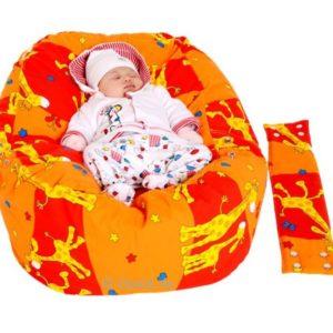 Babykissen & Kindersitzsack Giraffen orange