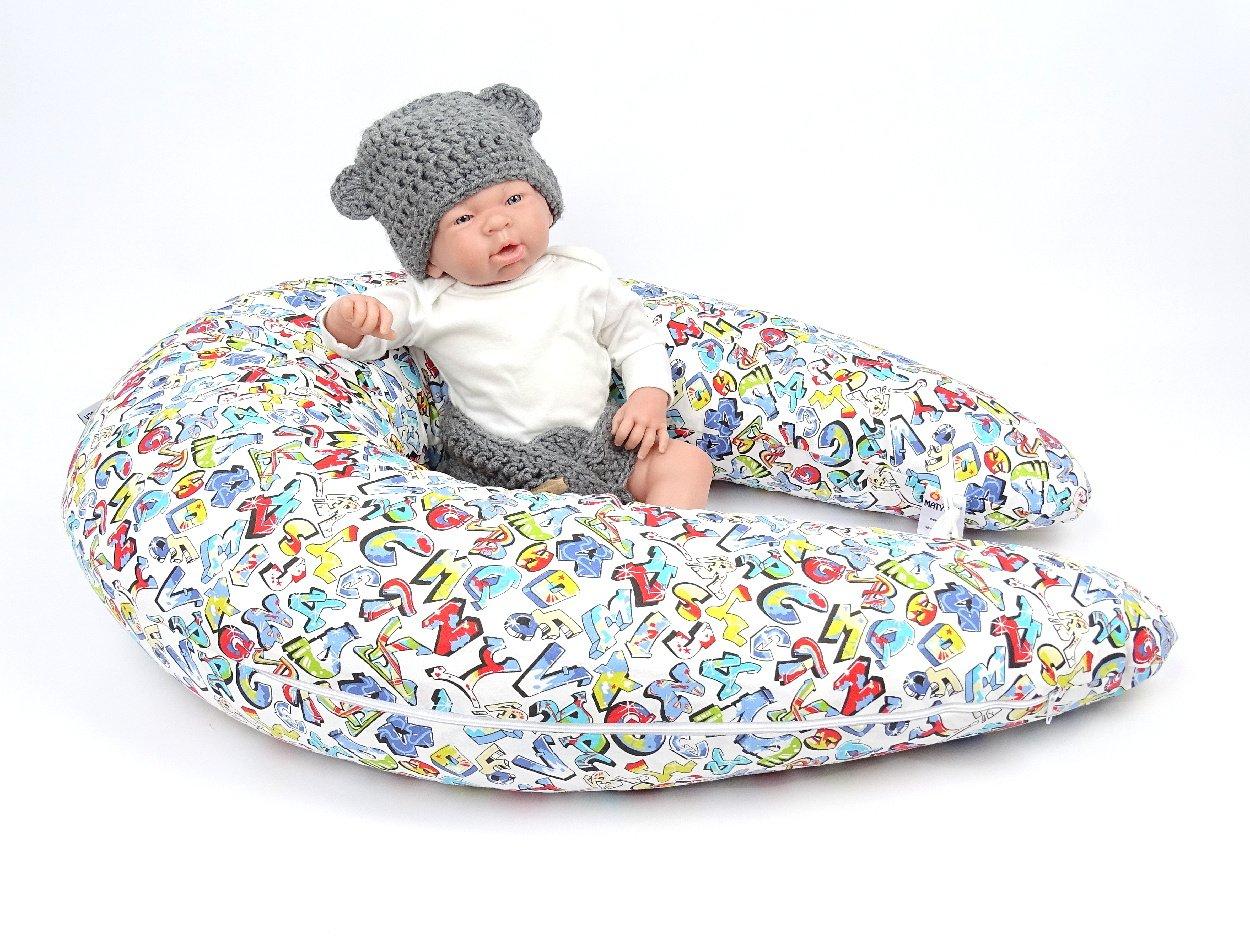 Stillkissen für Babys mit fetzigem Grafitty Muster