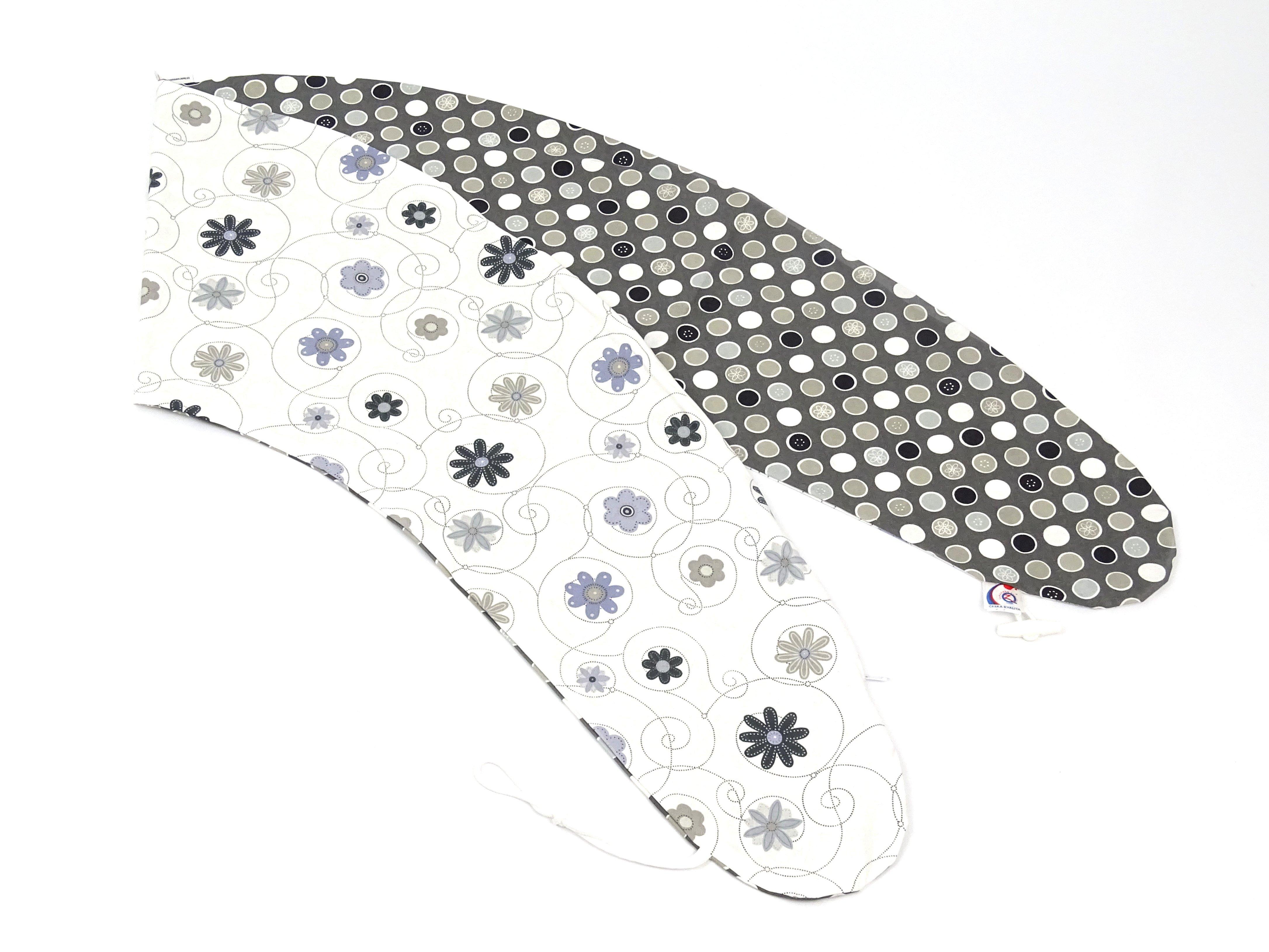 Stillkissen Grau Weiß Blumen Bezug
