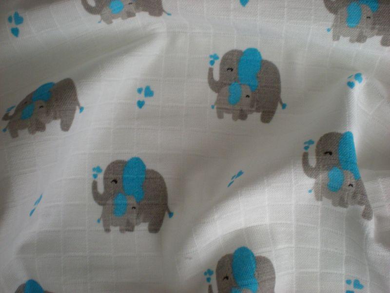 Baumwollwindel Elefant blau