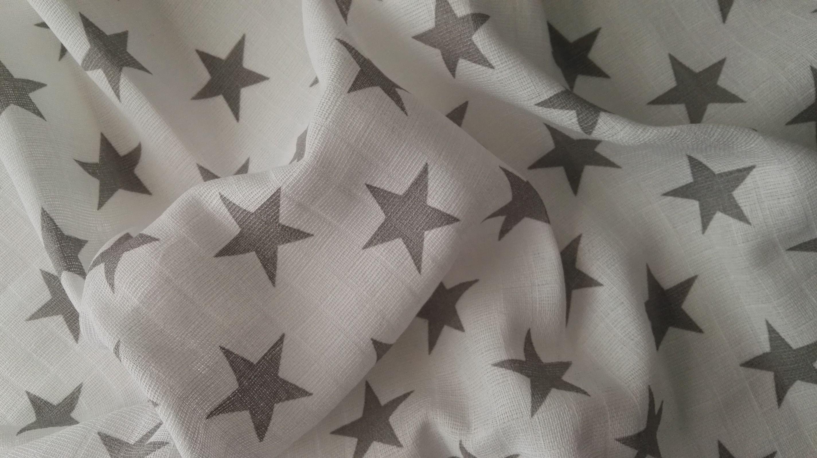 Baumwollwindel Sterne grau