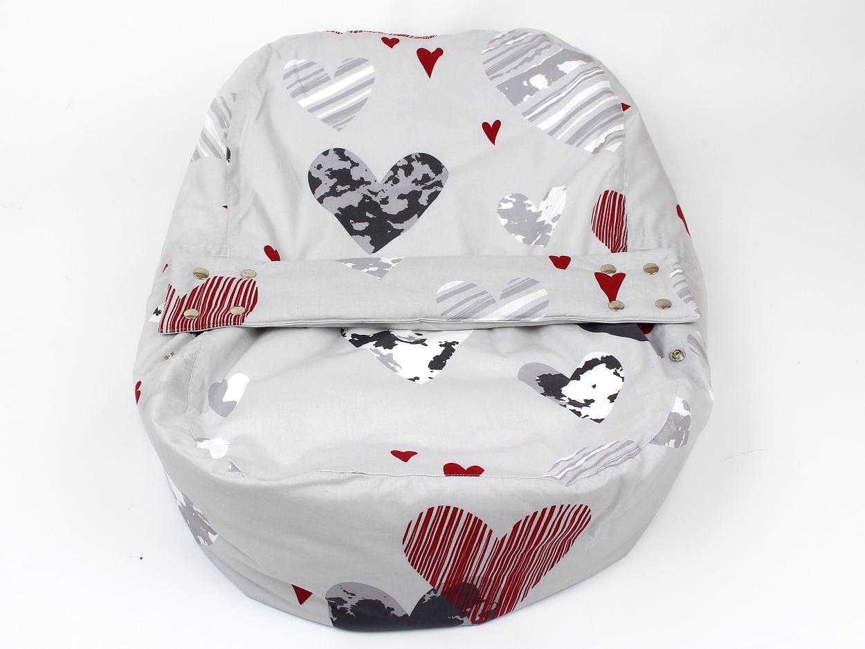 Liegekissen Herzchen grau rot 9
